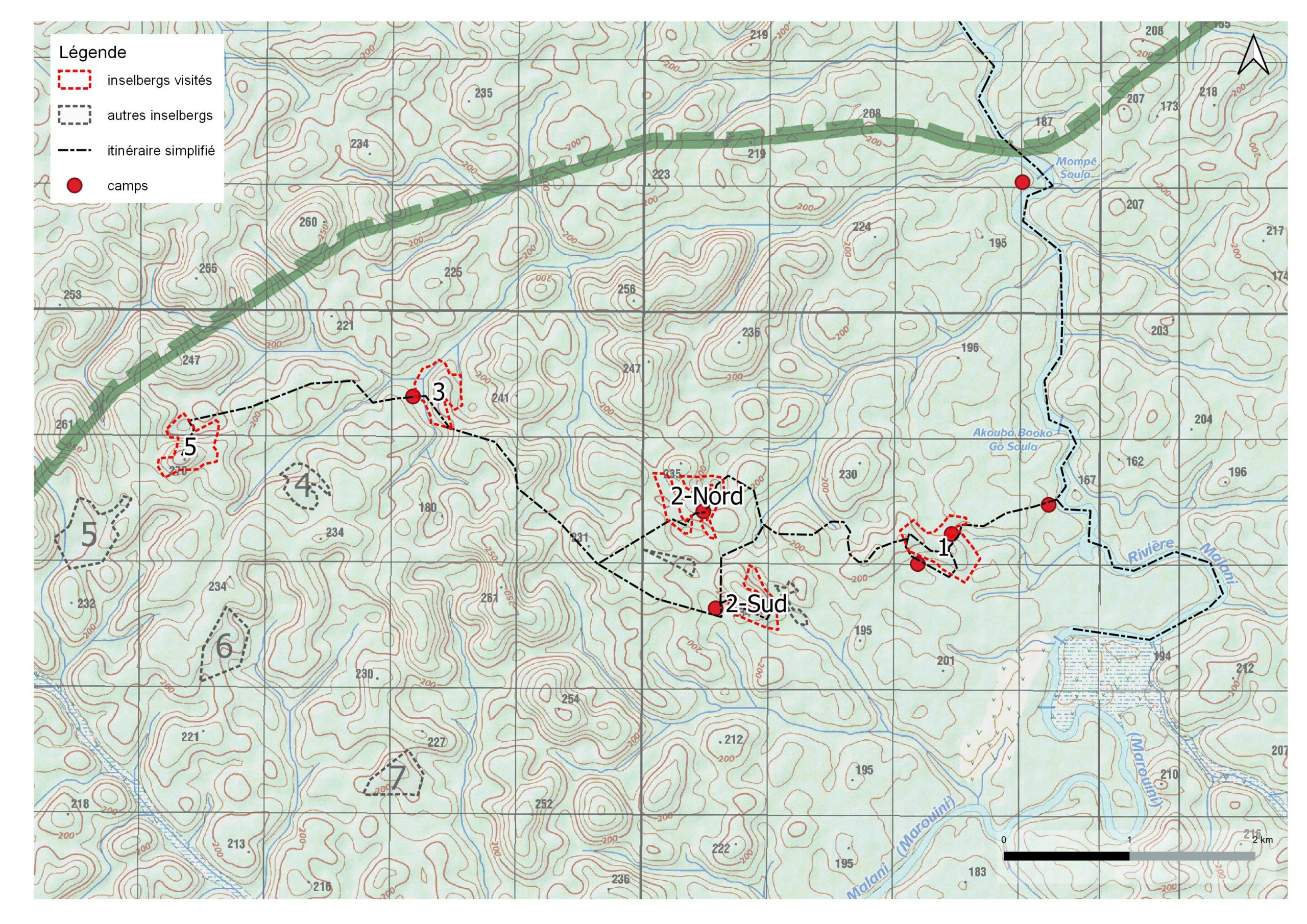 Carte du layon et des inselbergs